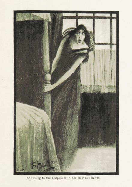 Ghostly Tales: She Clung to the Bedpost with her Claw-Like Hands. Fine Art Print (5389)